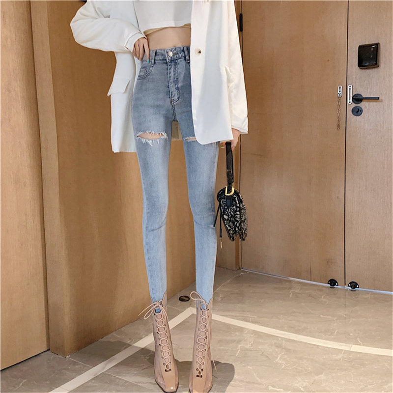 HziriP Autumn Slim Stylish Skinny Elastic Pencil Pants Women All-Match Plus Size High Waist Jeans Denim Ankle-Length Trousers
