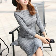Autumn Women Long Sleeve Knitted Sweater Dress O-Neck Sexy Winter Slim Solid Maxi Split Bodycon