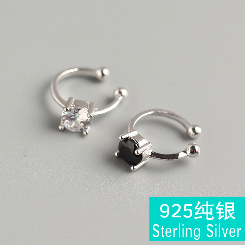 Fashion popular simple zircon ear clip S925 sterling silver hollow round black and white earrings brincos