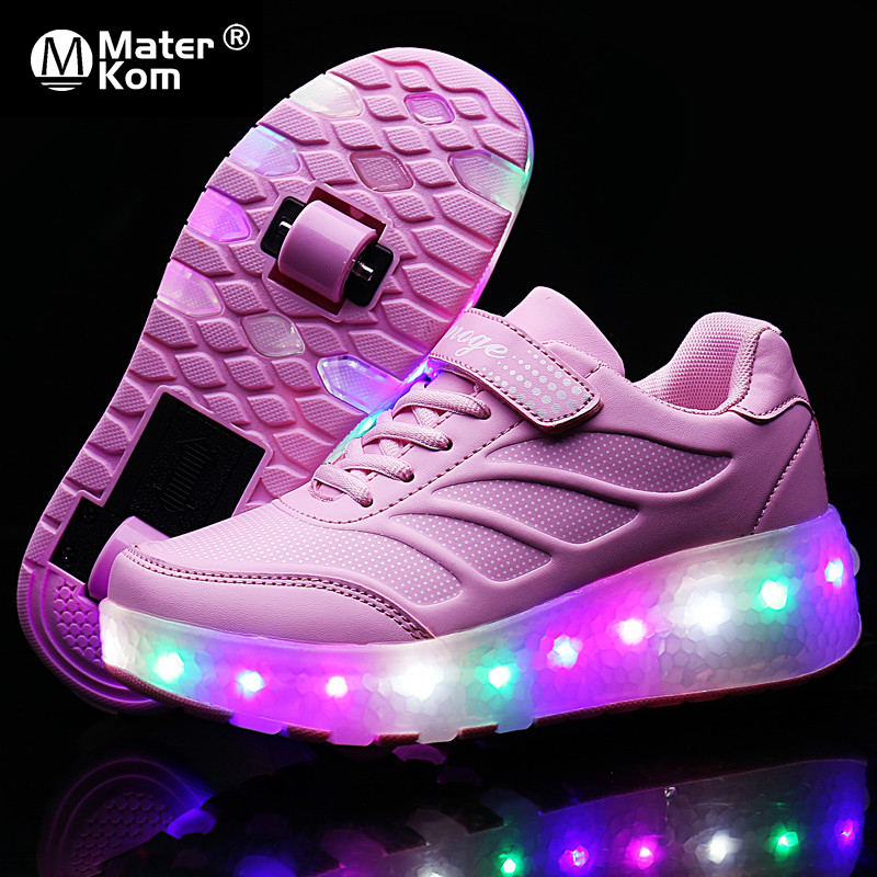 Size 28-43 Luminous Roller Sneakers For Kids Girls USB Rechargeable Led Skate Shoes With Double Wheels For Children With Lights
