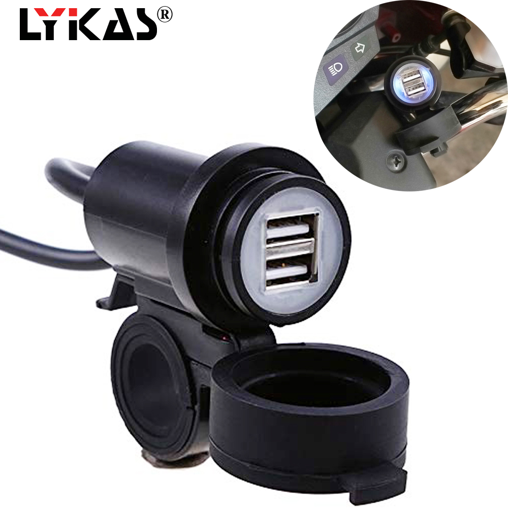 LYKAS Motorcycle Dual USB Port Phone Charger Adapter Waterproof Quick Charging 5v 12v Power Supply Socket Motorbike Handlebar