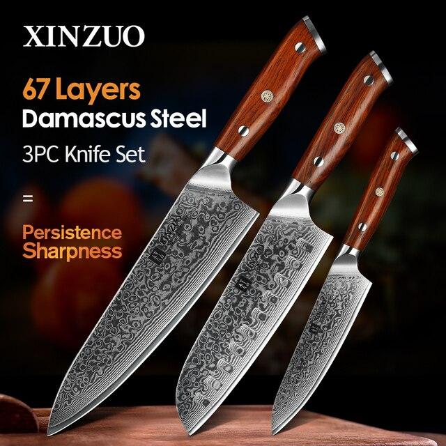 XINZUO 3PCS Pro מטבח סטי סכין יפני מזויף דמשק פלדה שף Santoku סכיני נירוסטה Rosewood ידית סכין שף