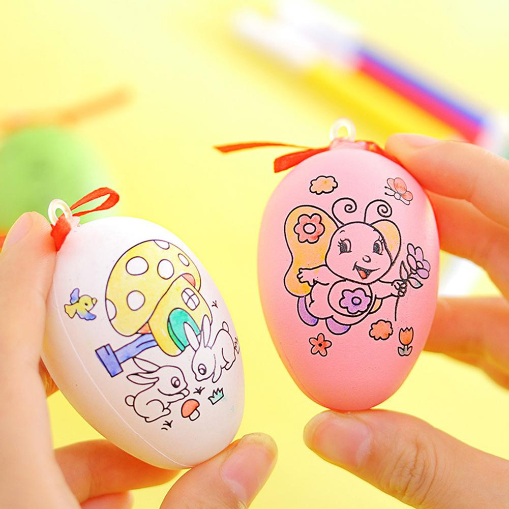 Funny Hand Painted Easter Eggs Pen DIY Painting Hanging Decor Kids Children Toy Easter Gifts