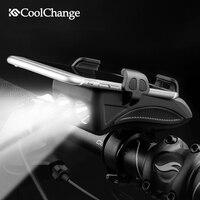 CoolChange Bike Licht USB Aufladbare Taschenlampe Telefon Halter Fahrrad Highlight 2000/4000mAh Power Bank Radfahren Horn Led Licht