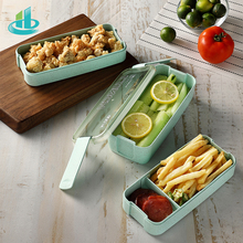 900Ml Draagbare Gezonde Materiaal Lunchbox 3 Layer Tarwe Stro Bento Dozen Magnetron Servies Voedsel Opslag Container Foodbox