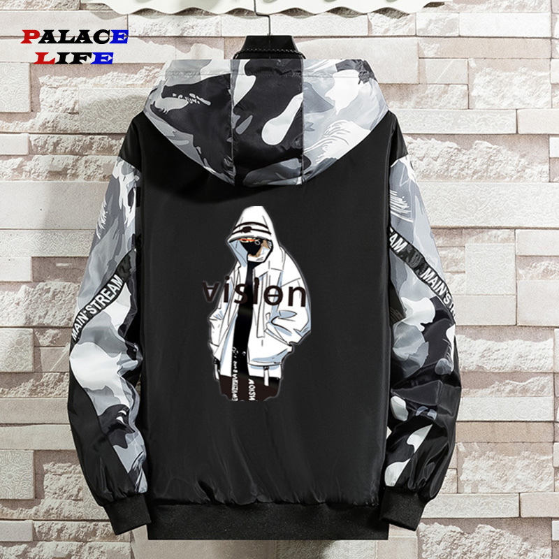 Spring Autumn Fashion Hooded Jacket Men Punk Hip Hop Jacket   Casual Print Youth Couple Coat Wild Streetwear Windbreaker