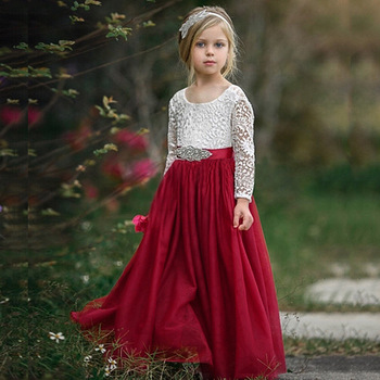 new design 2020 kids clothes baby girl white dress wedding party dresses for children flower girl dresses long sleeve lace gown Autumn Long Sleeve Girl Dress Lace Flower 2020 Backless Beach Dresses White Kids Wedding Princess Party Pageant Girl Clothes 8T