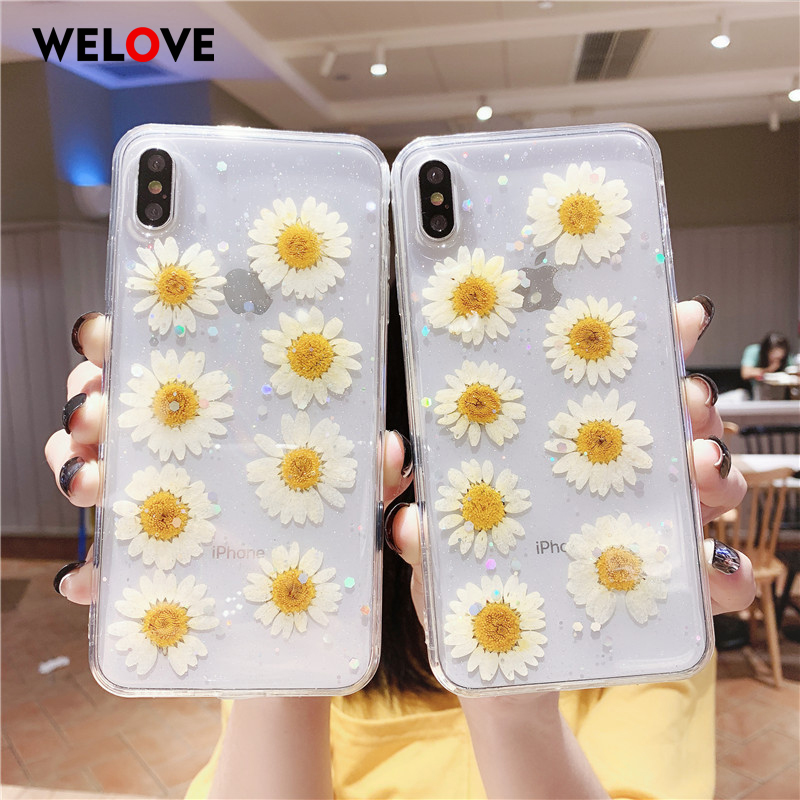 Hot Dried Real Everlasting Flower Phone Case For iPhone XS MAX fashion Soft TPU For iPhone 6 6S 7 8 Plus X XR Back Cover Capa