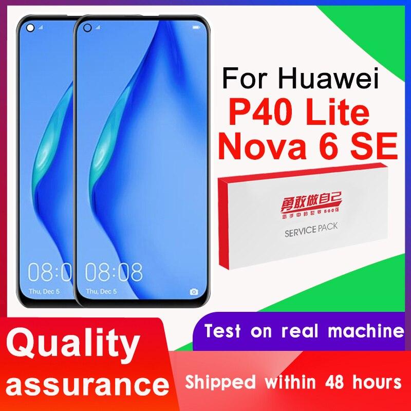 100% протестированный 6,4 ''дисплей Замена с рамкой для Huawei P40 Lite LCD сенсорный экран дигитайзер сборка для Nova 6 SE LCD