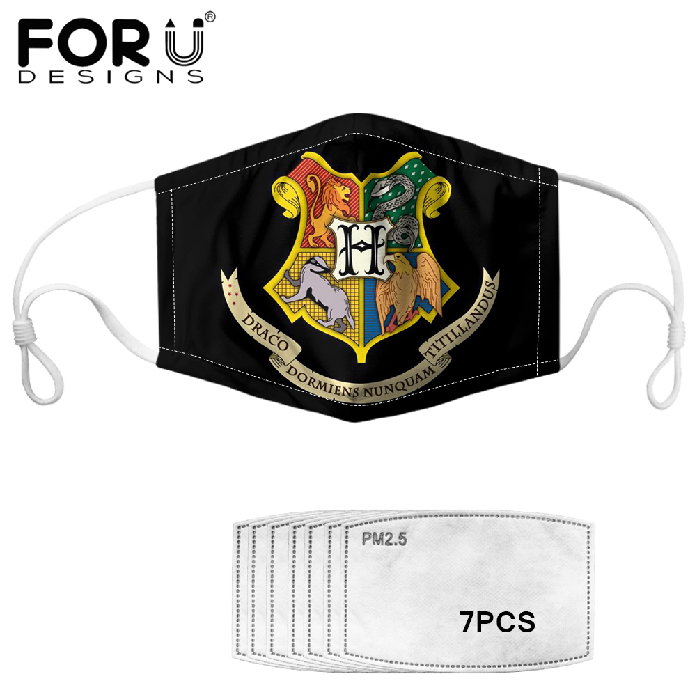 FORUDESIGNS Hogwarts Gryffindor Slytherin Printed Face Mouth Mask 7pcs Anti Haze PM2.5 Filter Elestic Masks Reusable Washable