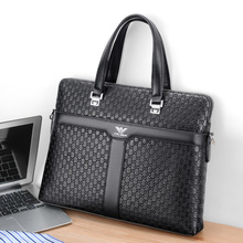 Briefcase Office Portable Genuine-Leather Casual Male Solid Business Brand Men Handbag