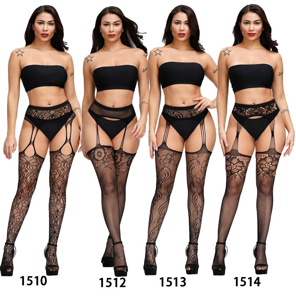 H6e4b60543ea342dea3f7e6a8c6fe3902R Lencería Sexy Porno erótico para mujer, lencería de talla grande, ropa interior, muñecas, medias sin entrepierna, encaje transparente sólido