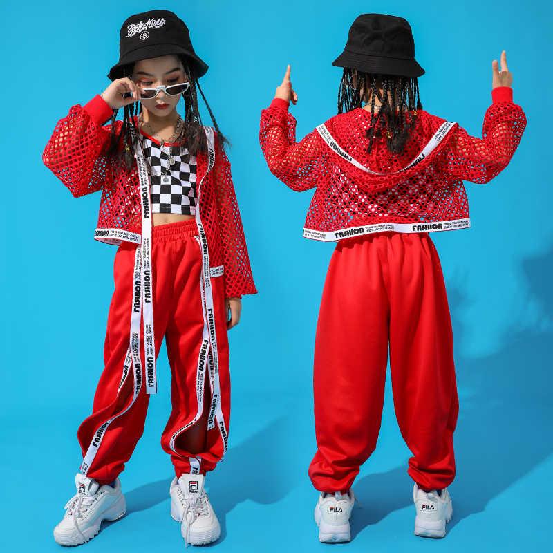 레드 힙합 댄스 의상 어린이 재즈 댄스 의류 소녀 정장 조끼 코트 바지 새로운 성능 정장 어린이 무대 의류