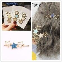 Hot Ins koreański dziewczyny spinki do włosów luksusowe metalowe złota gwiazda kształt Hairgrips malowanie jednolity kolor Fringe włosów spinki akcesoria do włosów