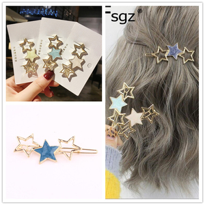 Hot Ins Korean Girls Hairpins Luxury Metal Golden Star Shape Hairgrips Painting Solid Color Fringe Hair Clips Hair Accessories