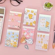 Kawaii chleb kot notatnik Cute cartoon zwierząt wiadomość notatki dekoracyjne notatnik karteczki do notowania Memo papiernicze artykuły biurowe