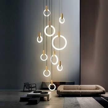 Moderne Led Kroonluchter Plafond Woonkamer Houten Verlichting Acryl Ring Armaturen Trappen Deco Opknoping Eetkamer Hanger Lampen