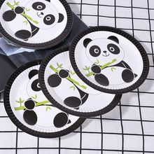 10 Styles Cute Cartoon Panda Happy Birthday Party Straw Plate Tablecloth Foil Balloons Set Wedding Party Home Decor Supplies(China)