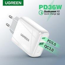 Ugreen 36w carregador rápido usb carga rápida 4.0 3.0 tipo c pd carregamento rápido para o iphone 12 carregador usb com qc 4.0 3.0 carregador de telefone