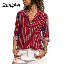 Womens Tops and Blouses Long Sleeve Striped Blouse Turn-Down Collar Shirt Ladies Office Blouse Casual Loose Plus Size Tops Blusa plus size women blouse fashion long sleeve heart print blouses turn down collar lady office shirt elegant casual loose tops