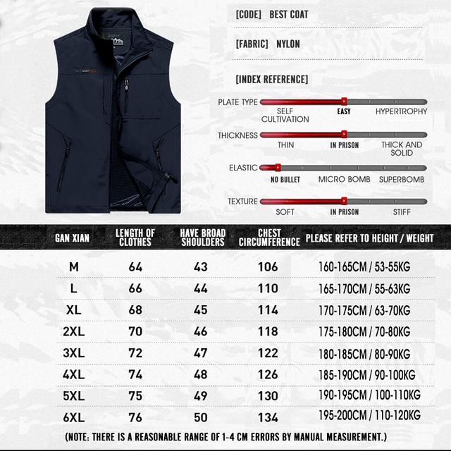 MAIDANGDI Men's Waistcoat  Jackets Vest 2021 Summer New Solid Color Stand Collar  Climbing Hiking Work Sleeveless With Pocket 5