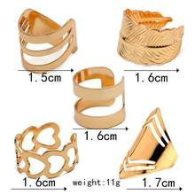 5pcs/1set Leaves Heart Shaped Geometric Ring Punk Joint Circle Mid-finger Rings Set Adjustable Alloy Gold Rings For Women Party(China)