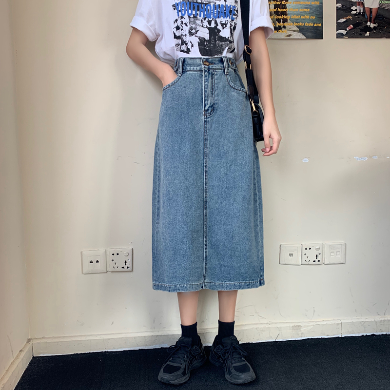 Luck A Retro Long Midi Denim Skirts Women High Waist Button Pockets Split Jeans Straight Skirts Plus Size Autumn Spring Bottoms(China)