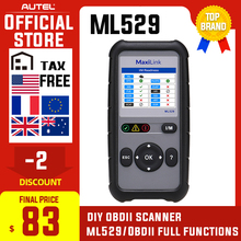Autel Maxilink ML529 Diagnostic Scanner Tool OBDII EOBD OBD2 Auto Check Engine Light DIY Fault Code Reader with Enhanced Mode 6