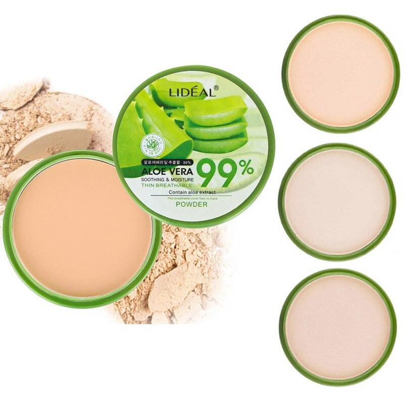 2020 New 99% Aloe Vera Moisturizer Foundation Pressed Powder Makeup Concealer Pores Cover Whitening Brighten Face Powder