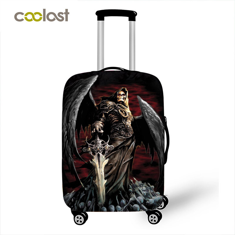 Luggage Protective Covers with Skull And Wings Washable Travel Luggage Cover 18-32 Inch