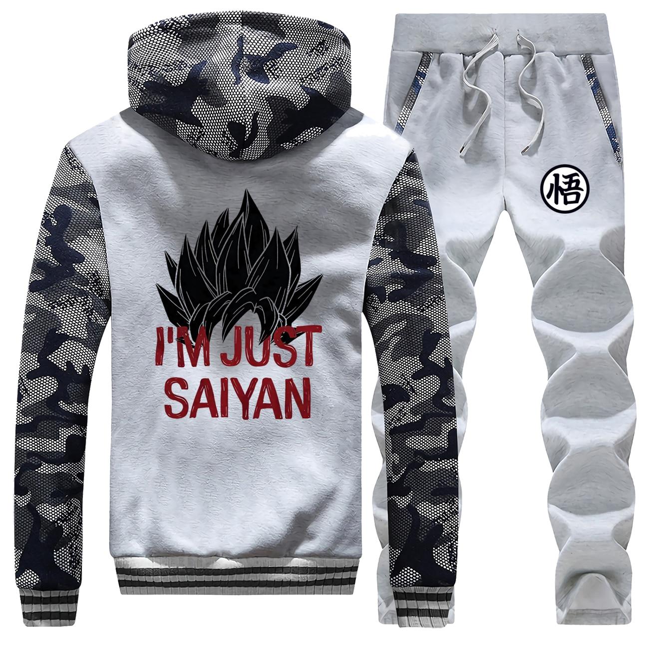 I'm Just Saiyan Male Set Dragon Ball Z Casual Sportsman Wear 2019 Winter Fleece Harajuku Suit Men Japan Anime Camo Sets Hoodies