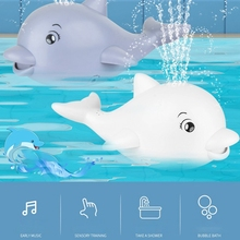 Baby Kids Bath Toys Electric Induction Dolphin Whale Water Spray Toy with Music and Flashing Lights Sprinkler Shower Toys Gift