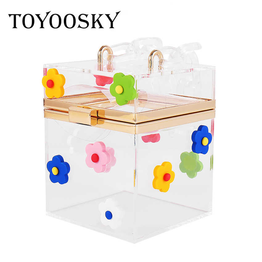 TOYOOSKY Clear acrylic clutch Purse women transparent bag plastic Flower box bag girl vintage retro party handbag 2019 new