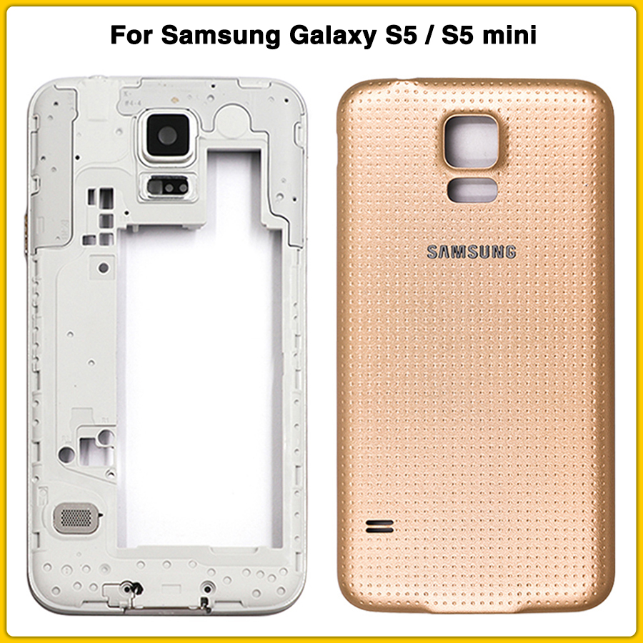 Full Housing Case For Samsung Galaxy S5 I9600 G900F S5 Mini G800 G800F Middle Frame Mid Chassis Bezel + Battery Cover Back Door
