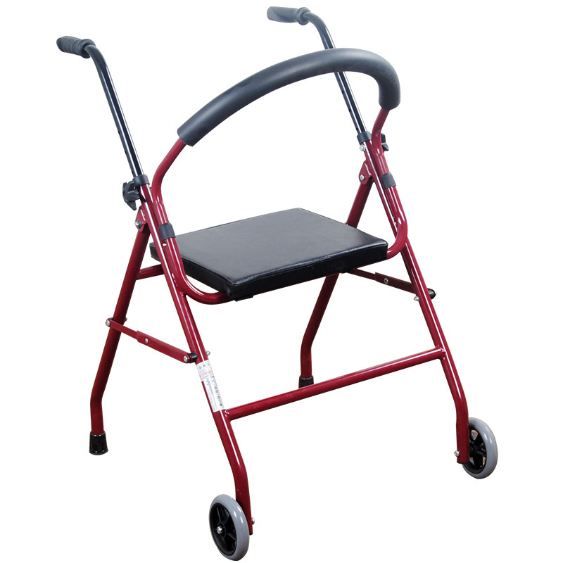 Elderly Stable Chair Steel Pipe Folding Walker With Soft Seat Non-slip Mat Walker With Wheel For Rehabilitation Exercise