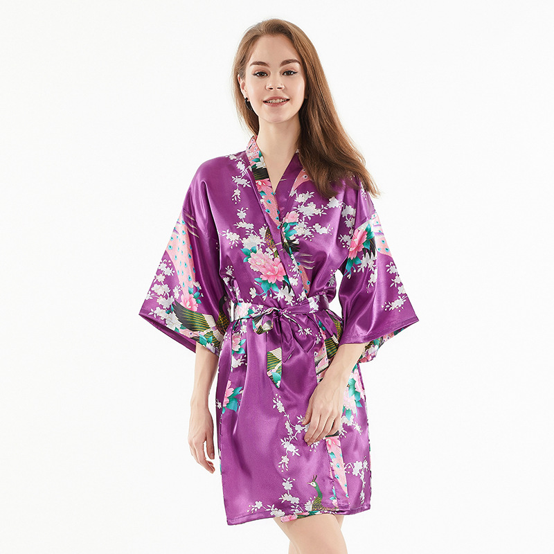 Imitated Silk Fabric Women's Robes Women's Bride Morning Gowns Spring And Summer New Products Bathrobe Silk Pajamas Fashion Card