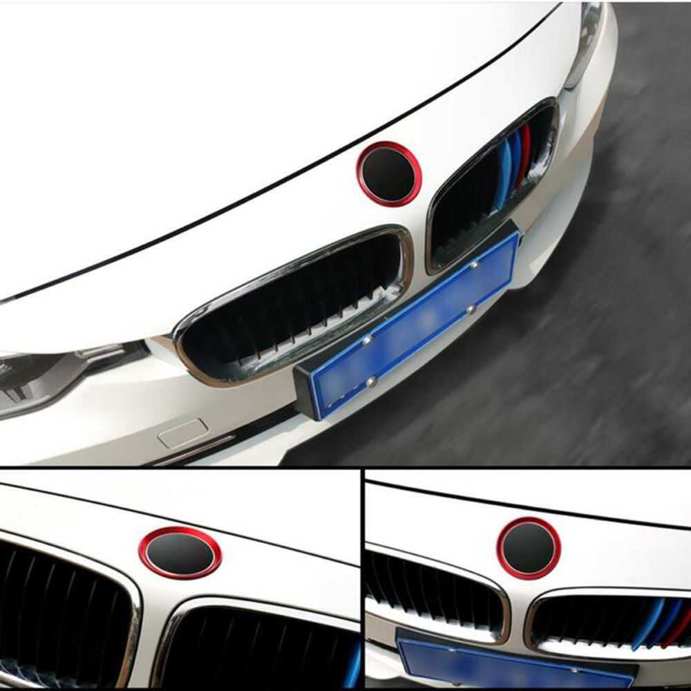 Covers Logo Surrounding Ring Trims For BMW F30 E90 M3 M4 Emblem 2pcs Red image