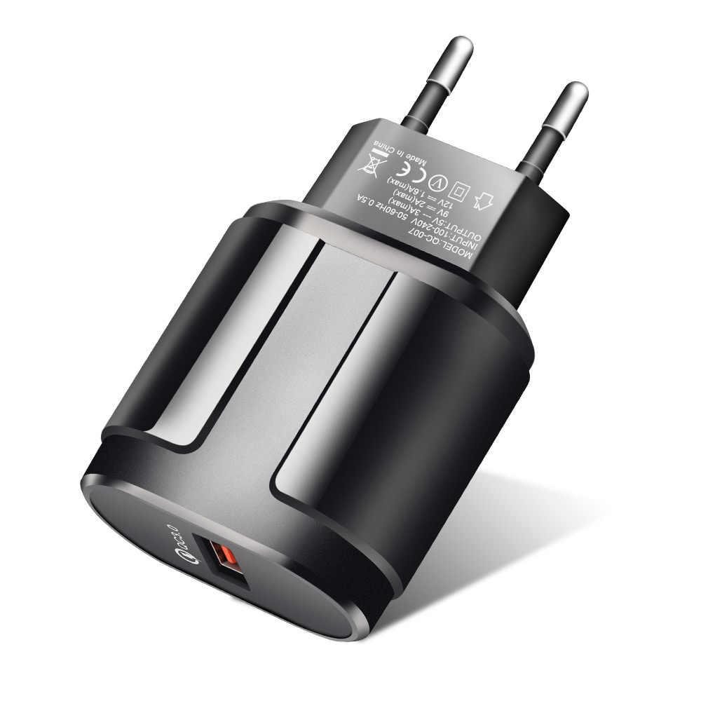 ROCK Pengisian Cepat QC3.0 USB US EU Cepat Charger Universal Mobile Phone Charger Dinding USB Charger Adapter untuk Iphone Samsung xiaomi