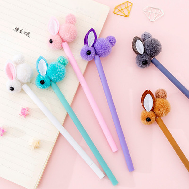 1pcs Plush Rabbit Gel Pen 0.5mm Cute Pens Novelty Stationery Kawaii Pen Student Cute Signature Pens Kawaii School Supplies