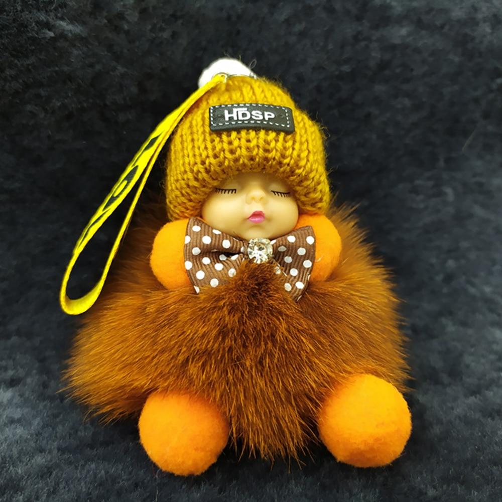 Cute Cartoon Sleeping Doll Keychains Fur Ball Plush KeyChain Keyring Women Men Bag Pendant Car Key Holder Toys for Kids Gifts