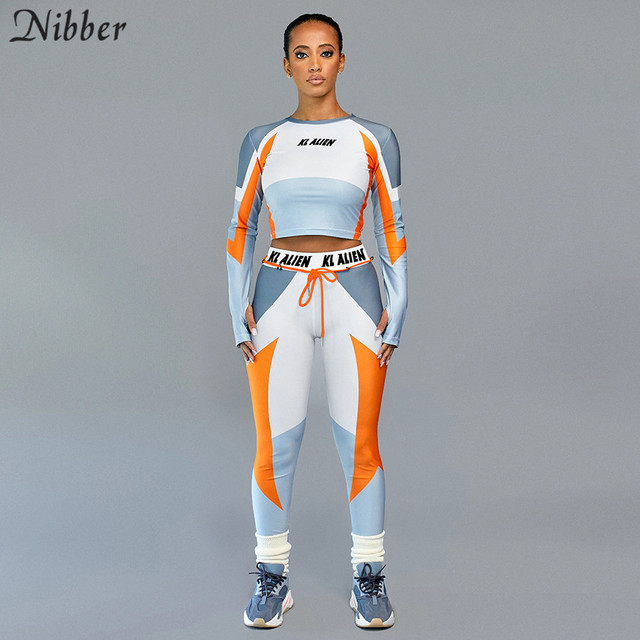 Nibber autumn Patchwork Sportswear tops leggingss 2piece sets women full sleeve crop tops jogging Tee shirts casual pants suits