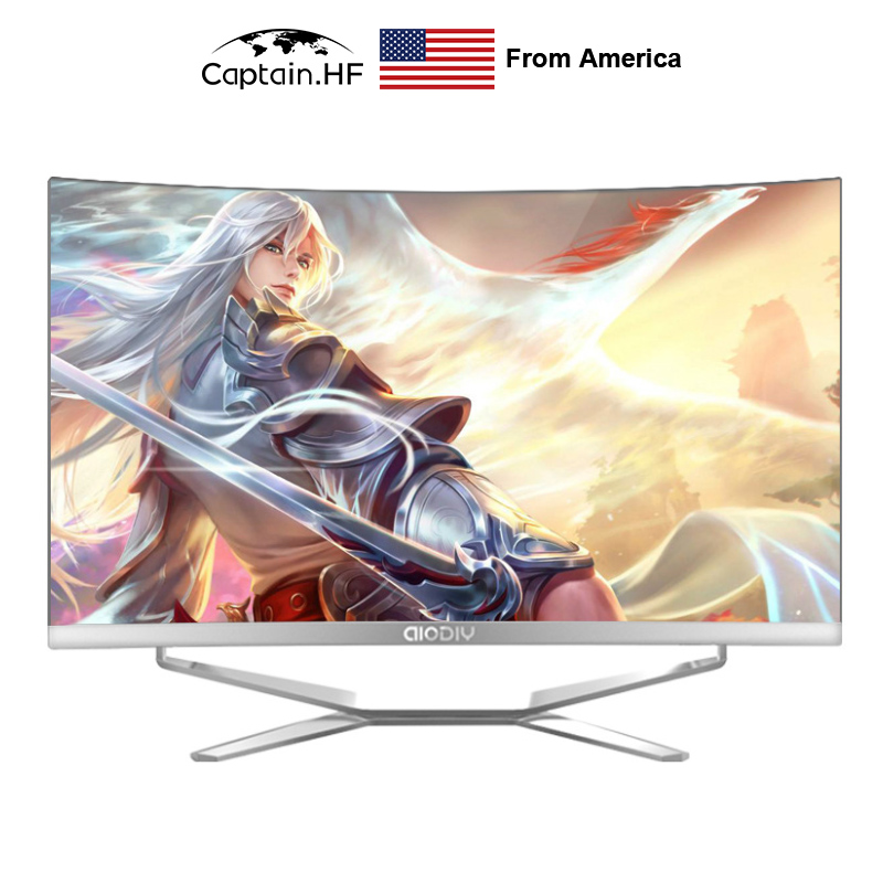 US Captain Fast PC Desktop 24 Inch 16G RAM 1T SSD Ultrathin Curved Surface All-in-One Computer For Office And Home