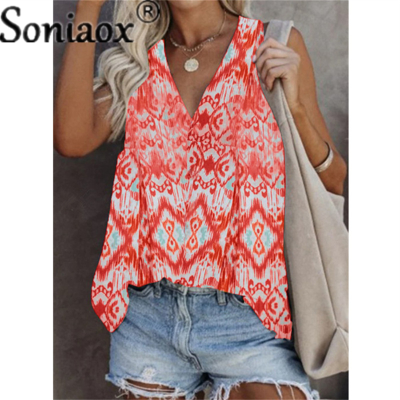 Summer New Fashion Women's V Neck Casual Sleeveless Printed T-Shirt Plus Size Loose Pullover Vest Top Clothing For The Girls