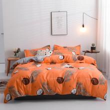 cartoon leaf 4pcs duvet cover bedding set Nordic linen bed flat sheet pillowcase bedclothes home textile