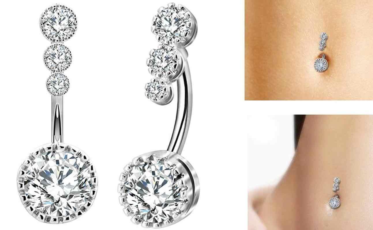 1pc Sexy pępek Piercing pierścionki na pępek Bar kryształ cyrkon zwisające Ombligo Party Stud brzana dla kobiety biżuteria do ciała YRX