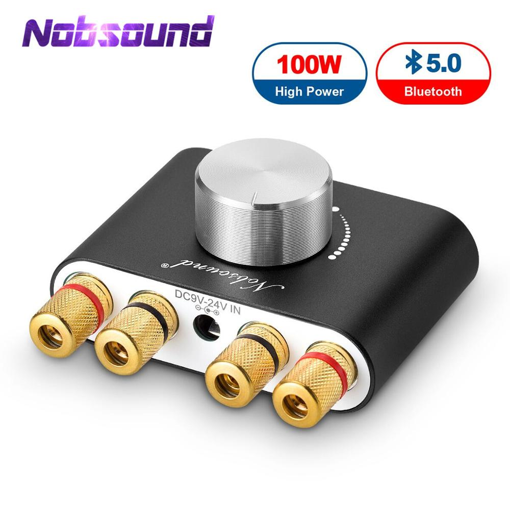 2020 Nobsound Mini Bluetooth 5.0 Digital Amplifier Hifi Stereo Wireless Audio Receiver Power Amp 50W+50W Car Sound Amplifiers