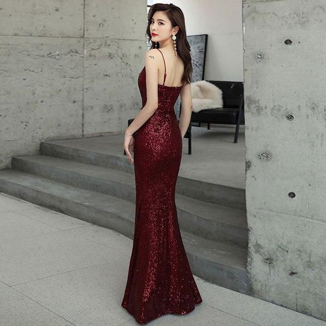 Burgundy stretch sequin sexy slit pleat trumpet vestidos de fiesta de noche prom party evening dresses robe de soiree gown long 2