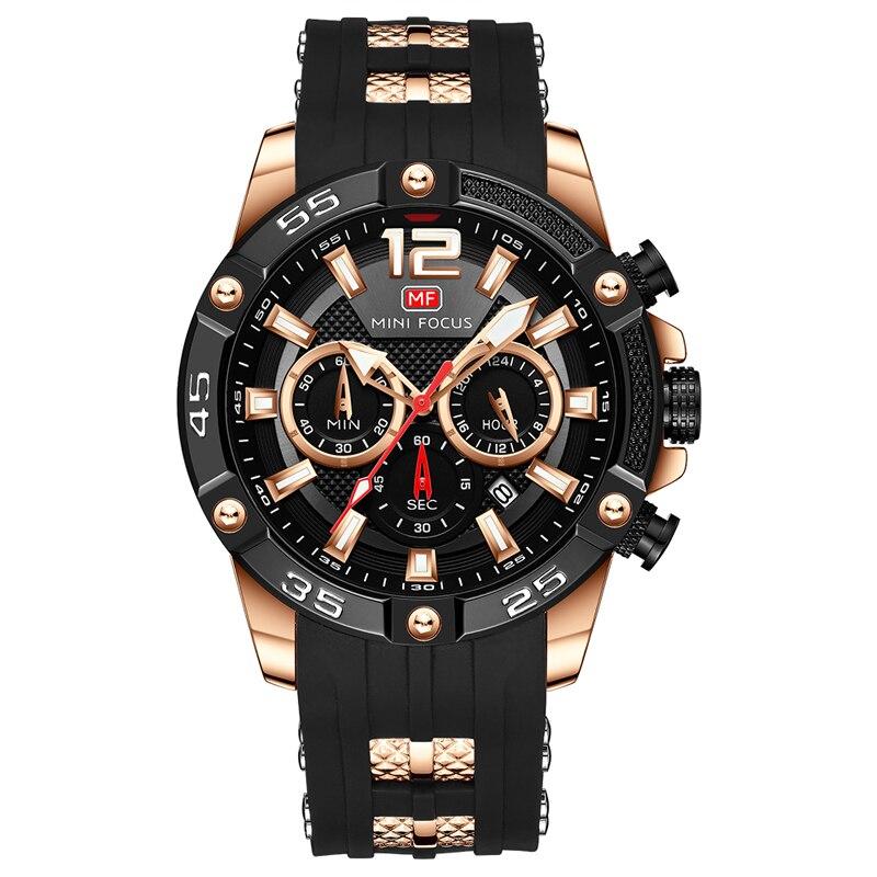 Relojes para Hombre de oro 2019 Relojes para Hombre marca de lujo reloj de los hombres de silicona cronógrafo deportes hombres Relogio reloj - 5