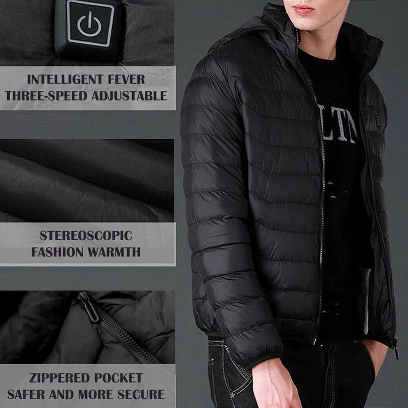 AYNEFY Men Heating Jacket USB Far Infrared Electric Heated Coat Winter Warm Jacket with Adjustable Temperature