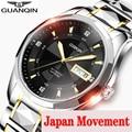 Часы GUANQIN 2019 японские механические  мужские часы из вольфрамовой стали  водонепроницаемые автоматические часы